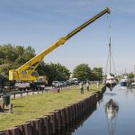 Boat lift with 70t Tadano Faun at Fiddlers Ferry yacht haven