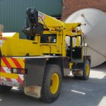 Franna removing tanks from buildings in Frodsham