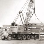 Manchester liners contaimers being loaded using 25t Coles crane