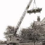 Boat lift from customers garden using 12t Coles crane