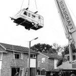 caravan lift over house using 35t Kato